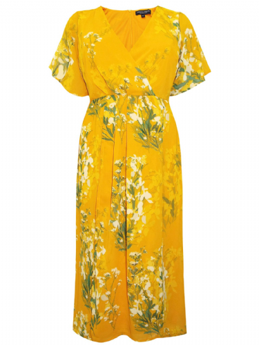 DOROTHY PERKINS YELLOW FLORAL PRINT OCCASION DRESS NEW SIZES 26 & 28